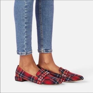 JustFab Red Plaid Fabric Studded Loafer Neve